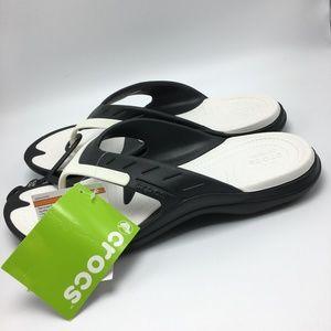 b33e221b8 CROCS Shoes - Crocs Modi Sport Flip Flop Sandals Black White NWT